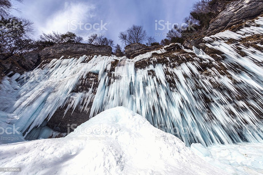 Frozen Pericnik Waterfall royalty-free stock photo
