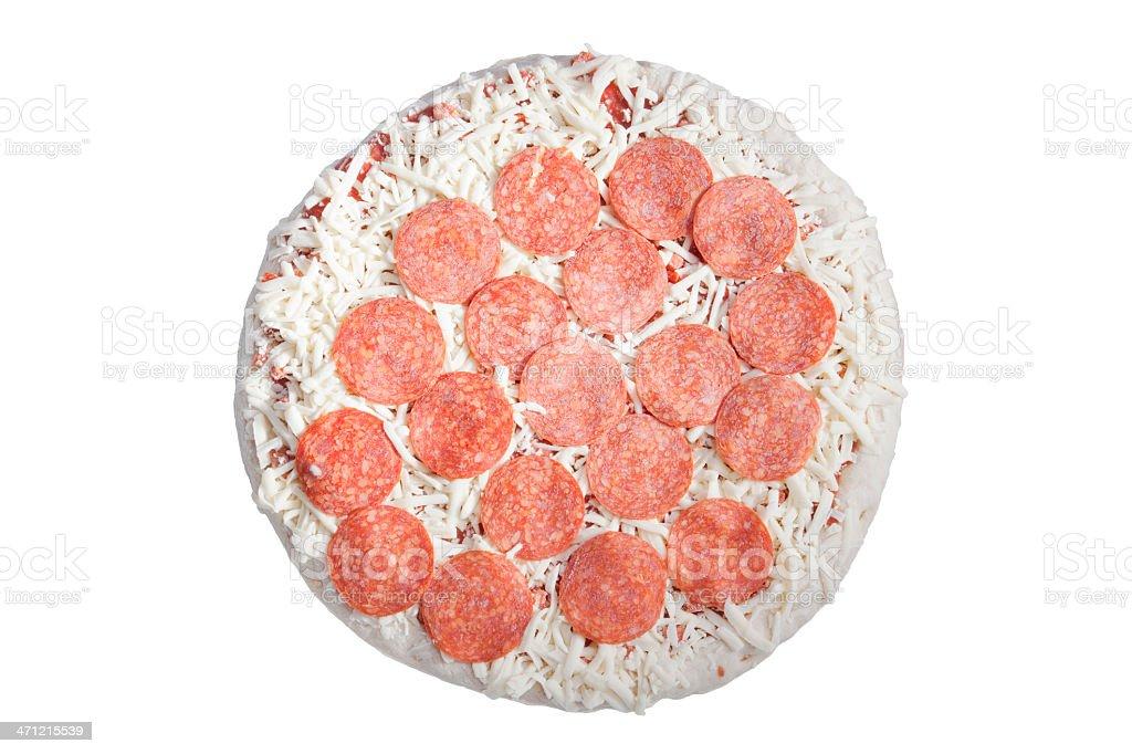 frozen perpperoni pizza on white stock photo