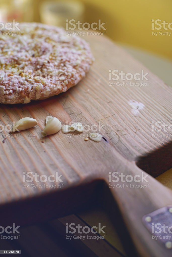 Frozen Pizza and Garlic stock photo