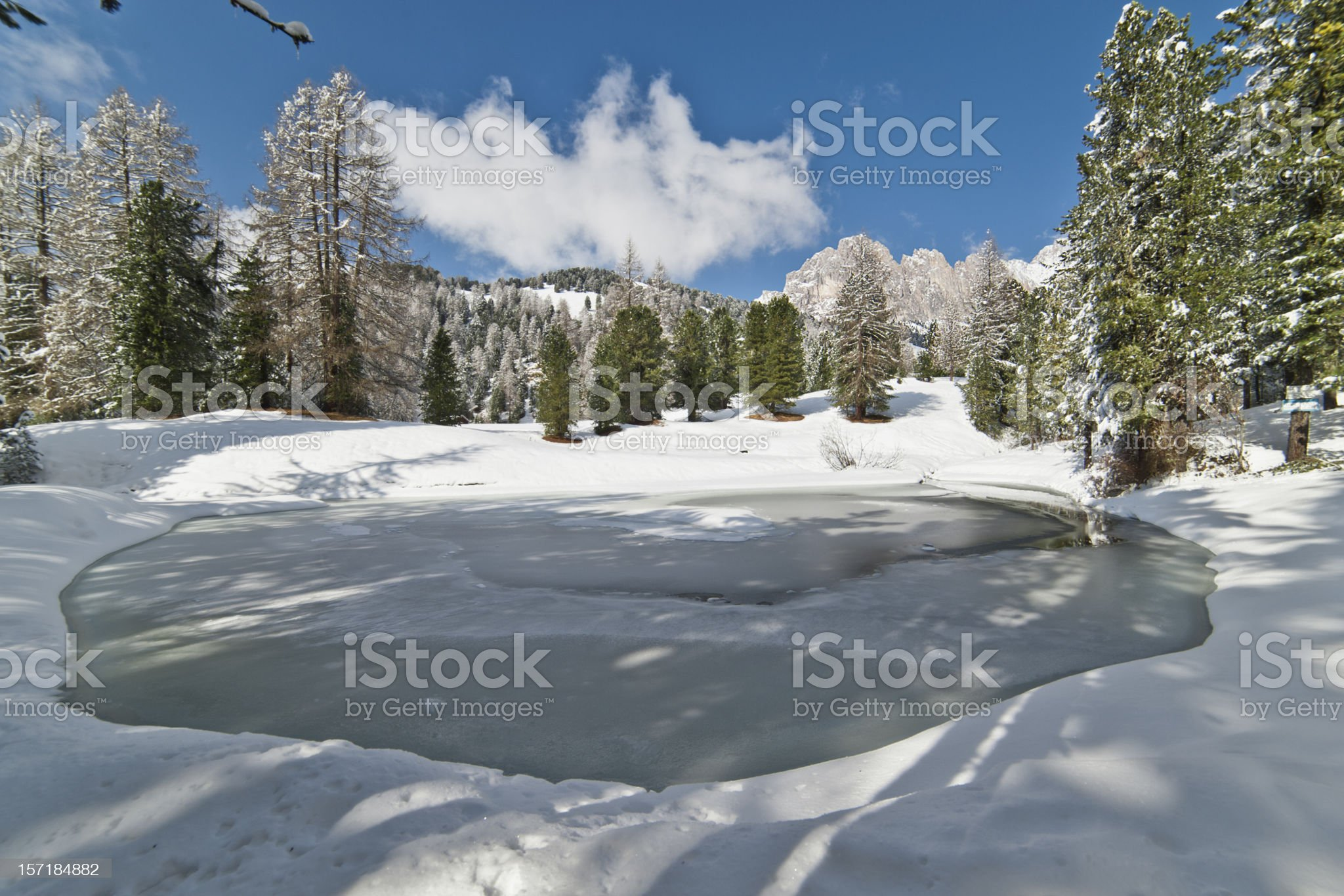 Frozen Pond in the Dolomites royalty-free stock photo
