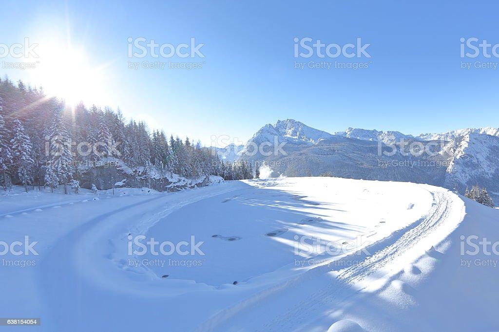 Frozen Pond on Snowy Mountain stock photo