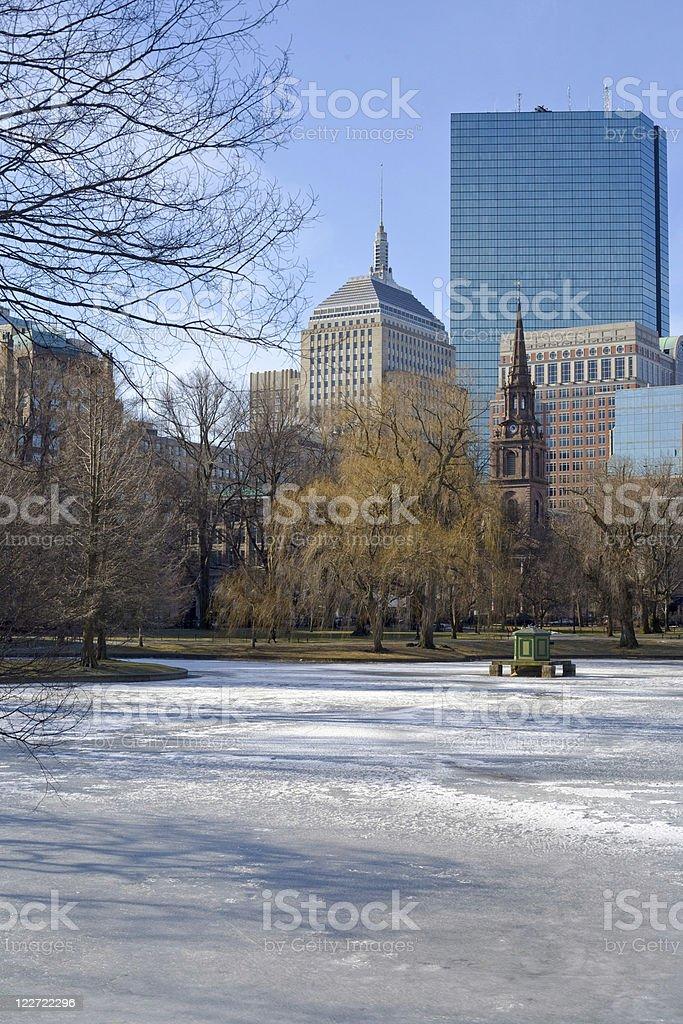 frozen pond stock photo