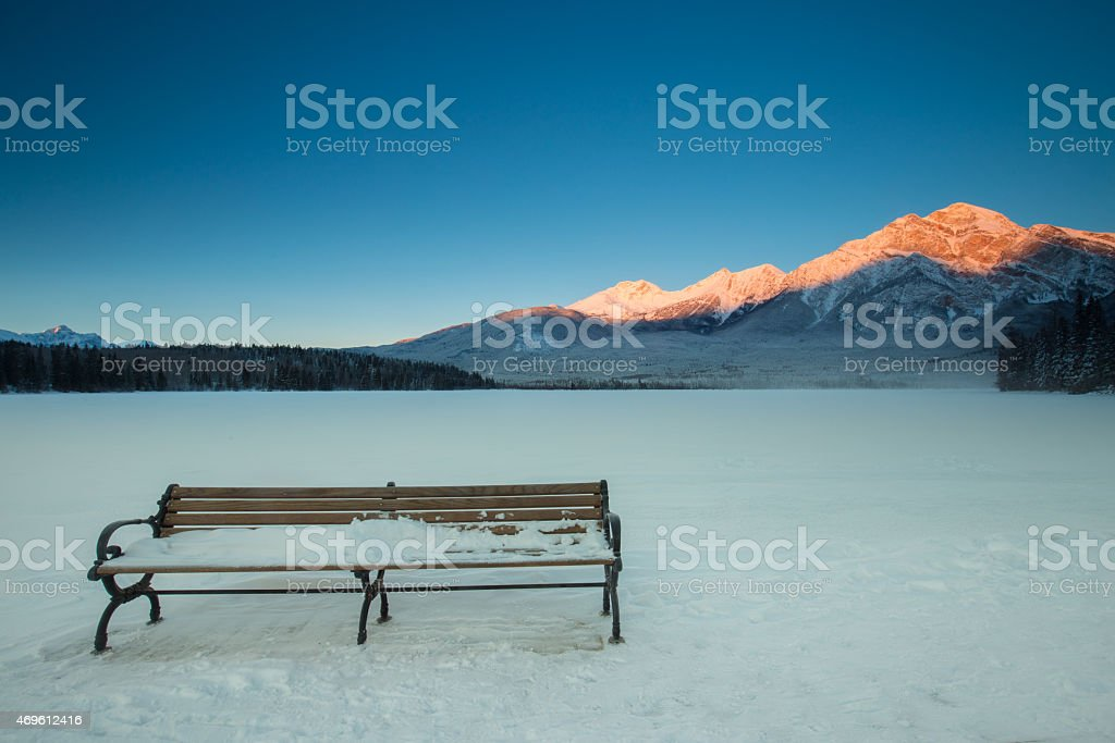 Frozen Pyramid Lake stock photo