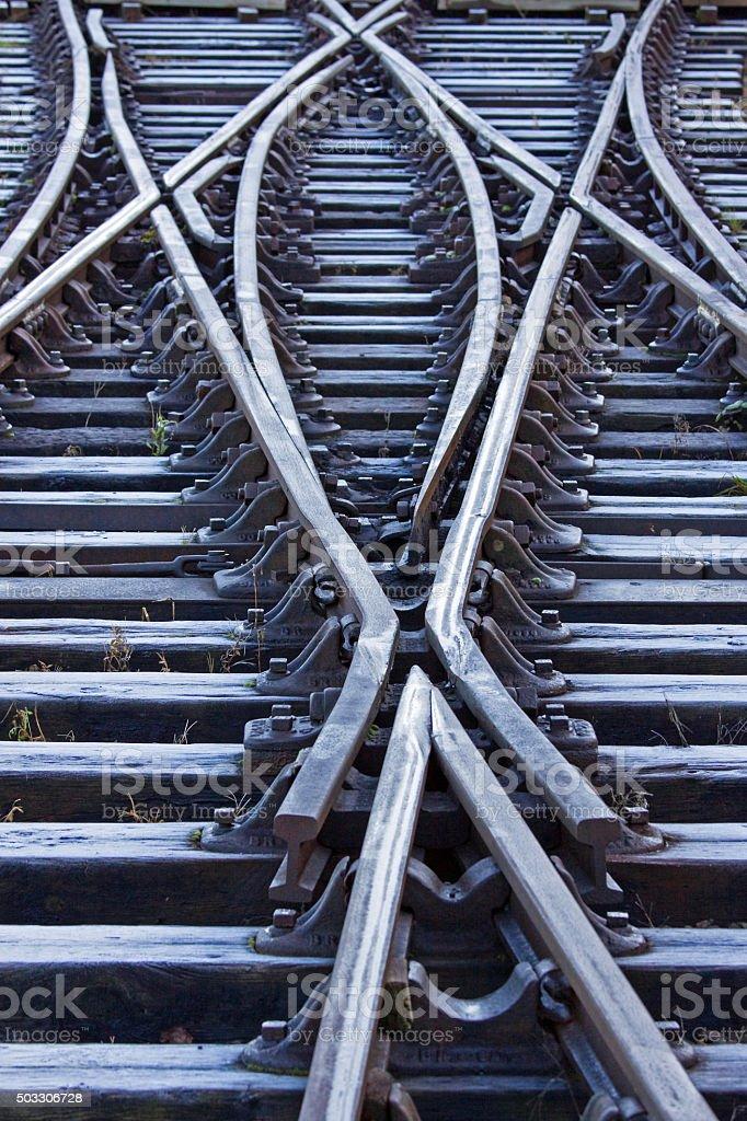 Frozen railway track in a shunting yard in winter UK stock photo