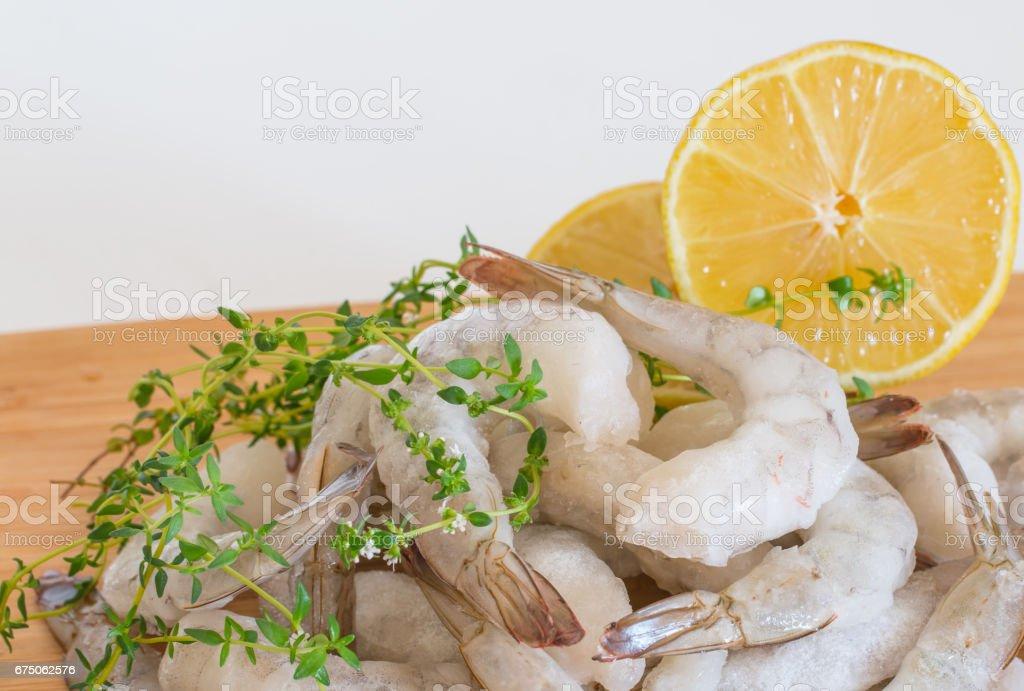 Frozen raw Shrimp stock photo