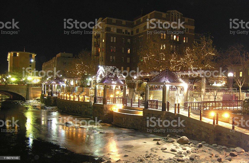 Frozen Reno Riverwalk stock photo