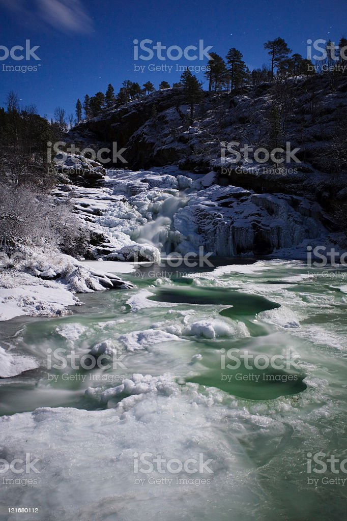 Frozen River by Night stock photo