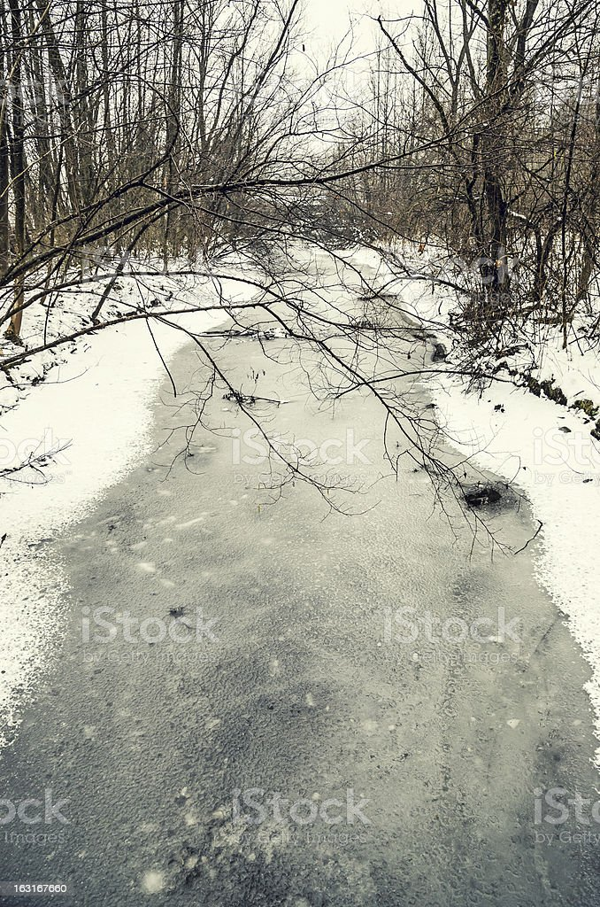 Frozen River in Winter stock photo