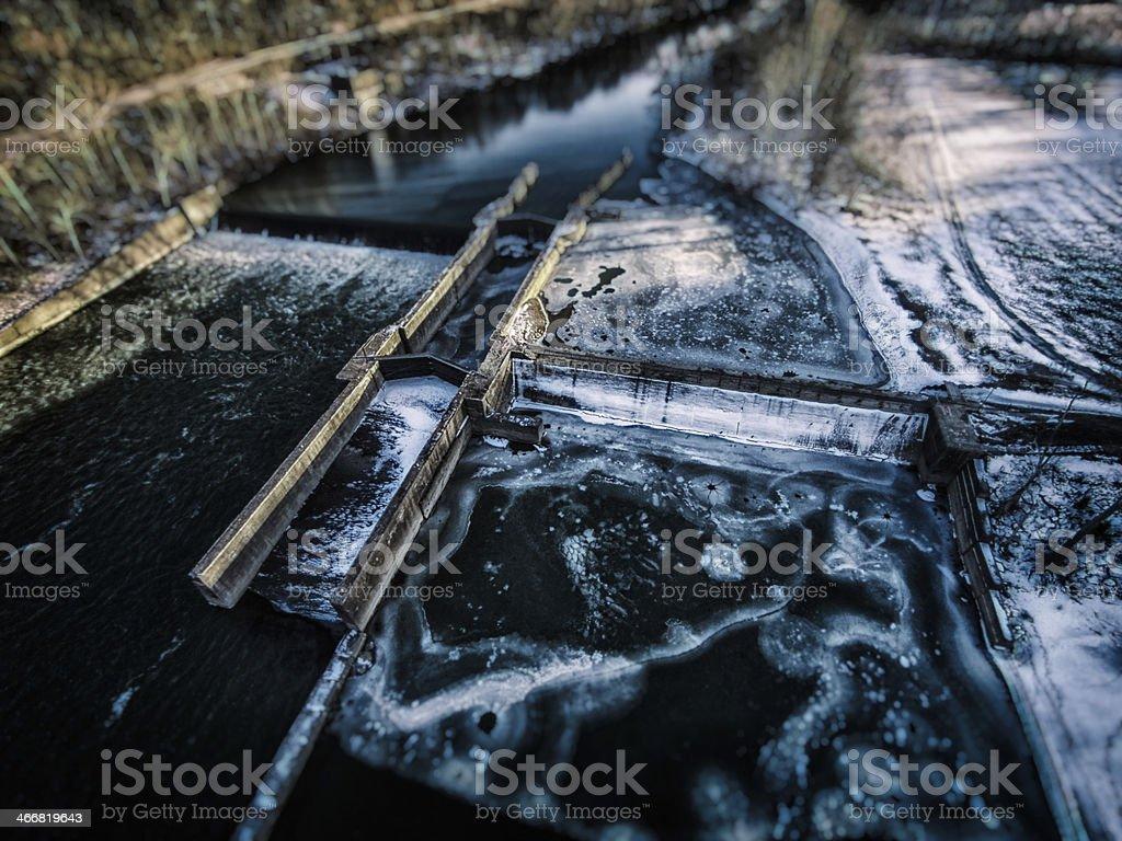 Frozen River Lock royalty-free stock photo
