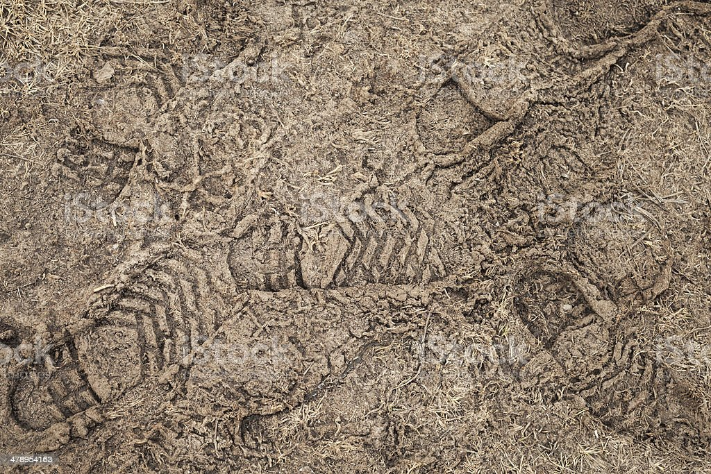 Frozen road dirt with footprints. Background texture stock photo