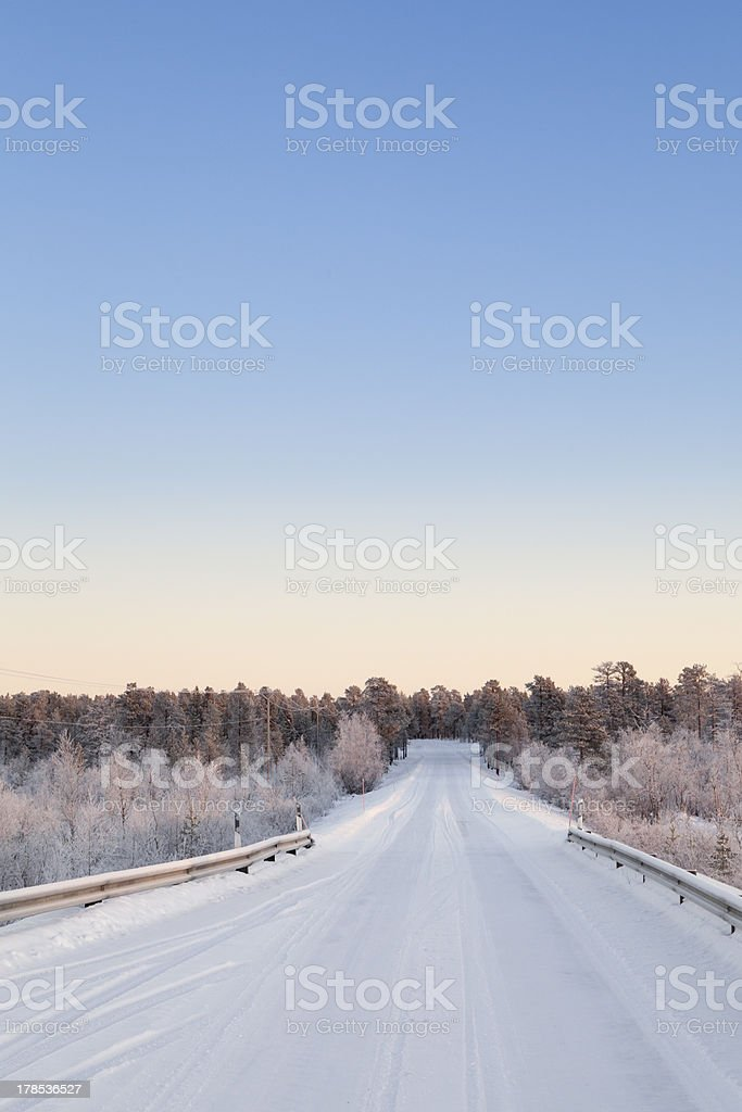 Frozen road in Lapland, Finland royalty-free stock photo