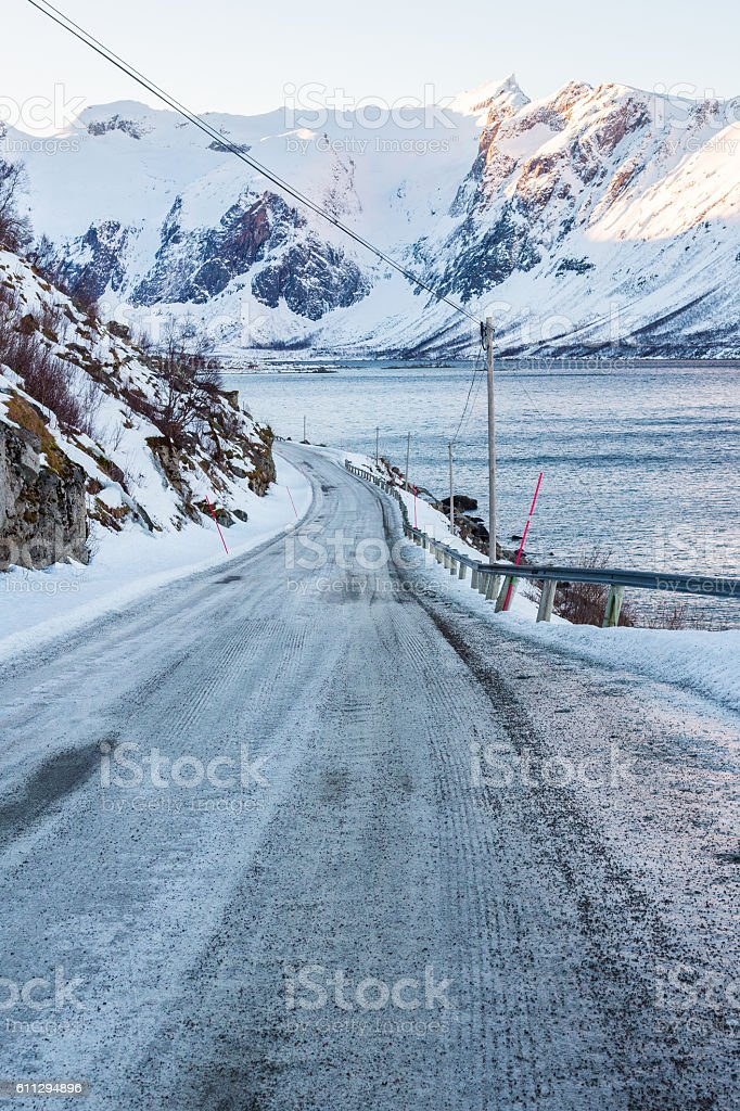 Frozen Road, Norway near Tromso stock photo