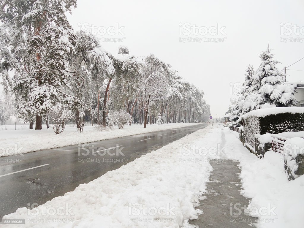 Frozen Road stock photo