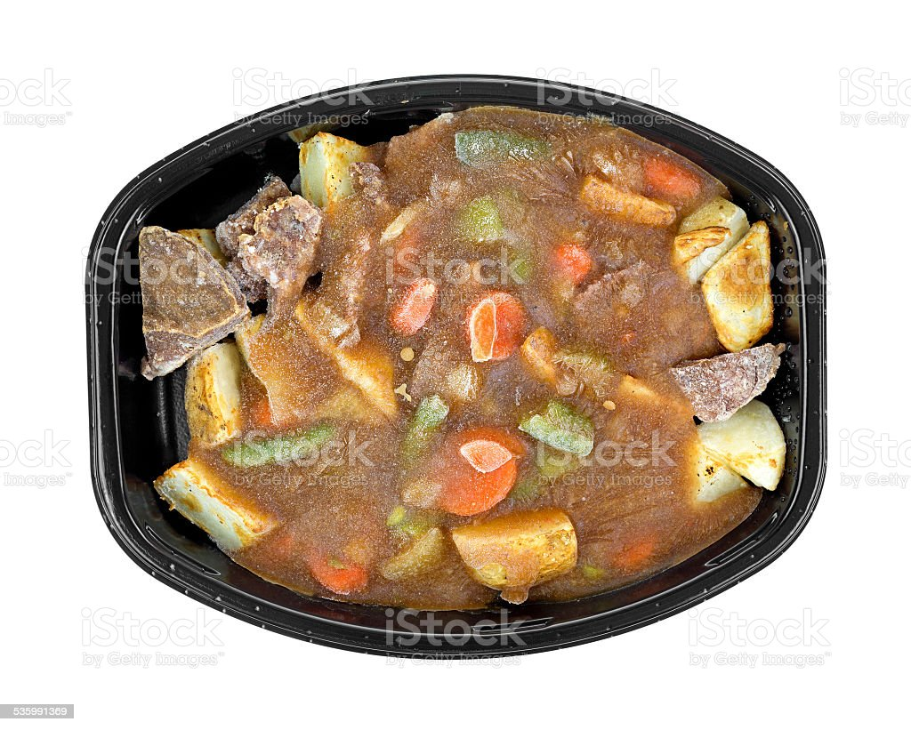 Frozen roast beef and vegetables tv dinner stock photo