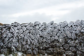 Frozen rocks due to cold temperature and wind