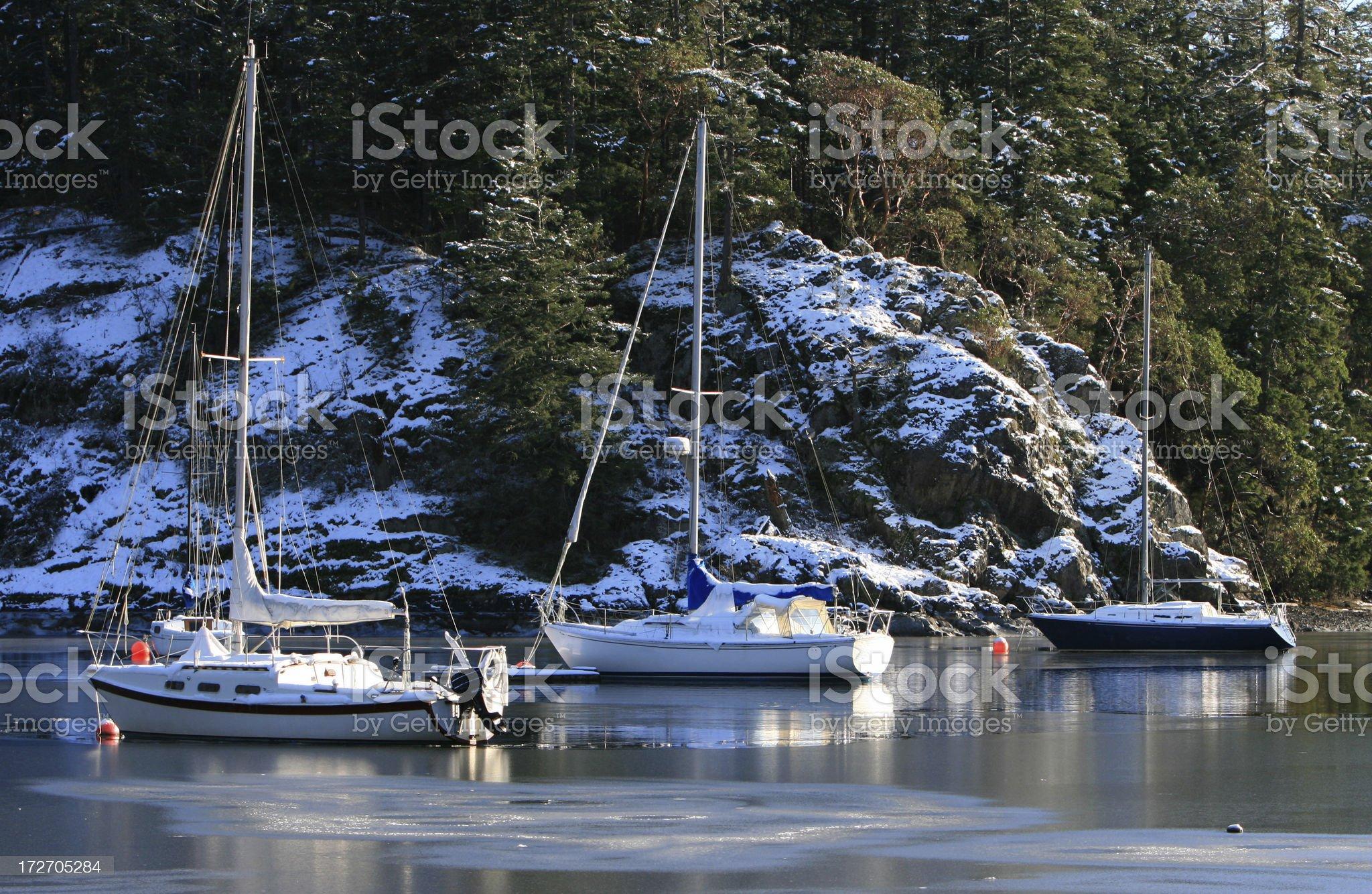 Frozen sail boats royalty-free stock photo