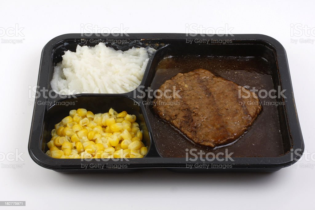 frozen salisbury steak dinner royalty-free stock photo