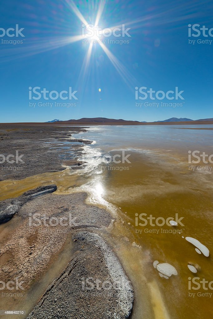 Frozen Salt Lake on the Bolivian Andes stock photo