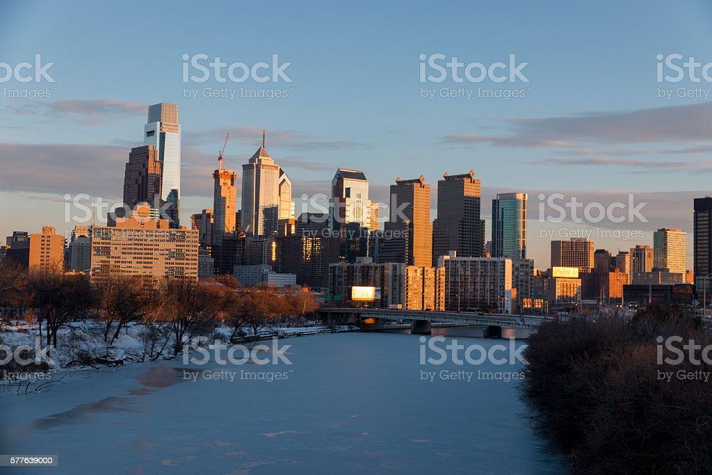 Frozen Schuylkill River and Philadelphia Skyline stock photo