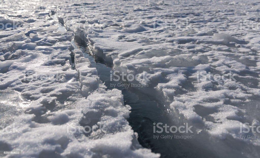 Frozen sea view. stock photo