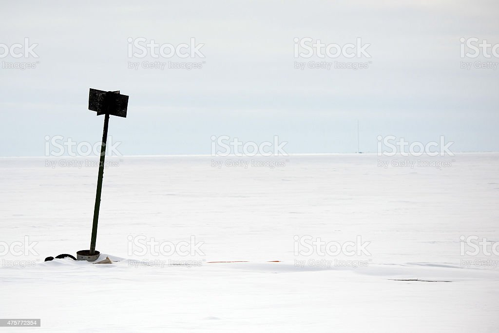 Frozen Sign - Barrow, Alaska stock photo