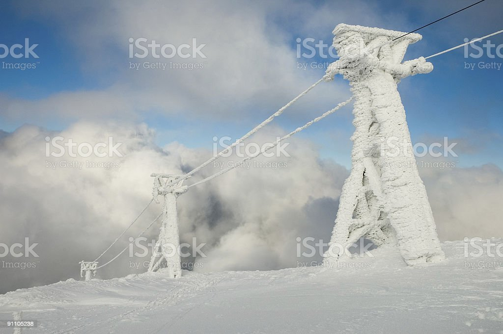 Frozen ski lift royalty-free stock photo