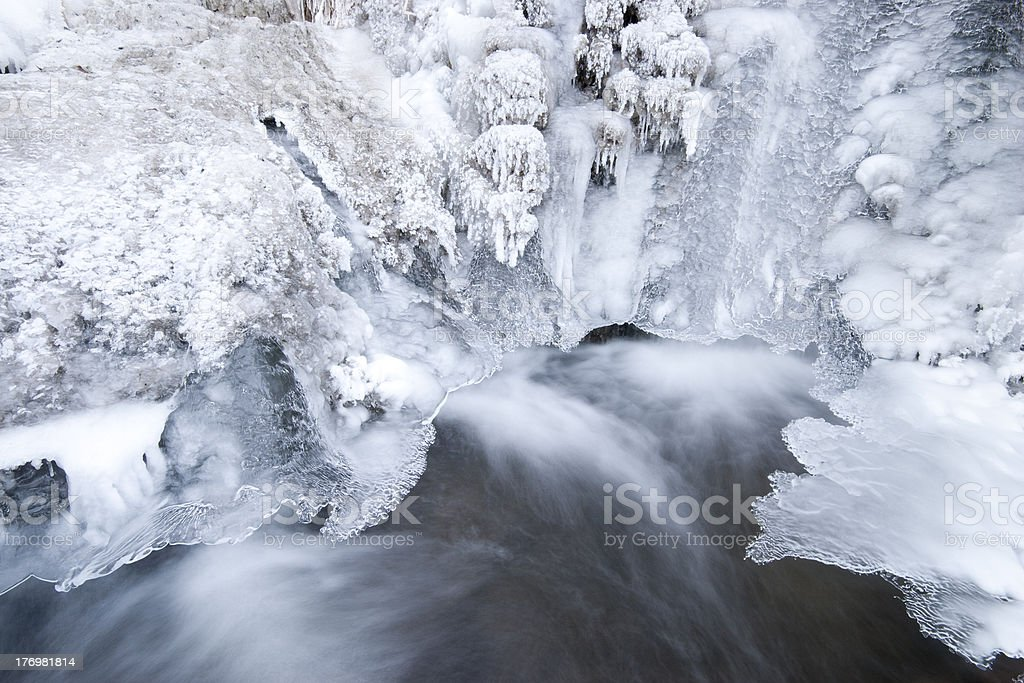 frozen small waterfall royalty-free stock photo
