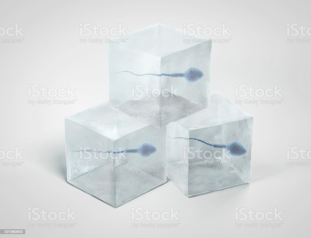 Frozen spermatozoon. stock photo