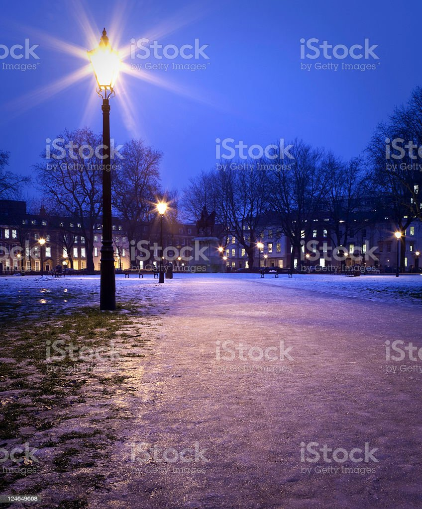 frozen square over blue sky royalty-free stock photo
