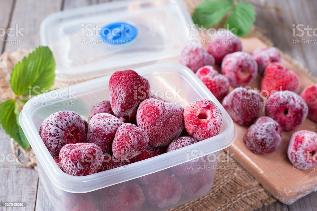 Frozen strawberries in box stock photo
