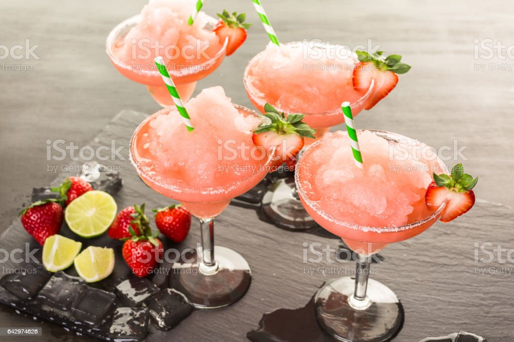 Frozen strawberry margarita cocktail stock photo