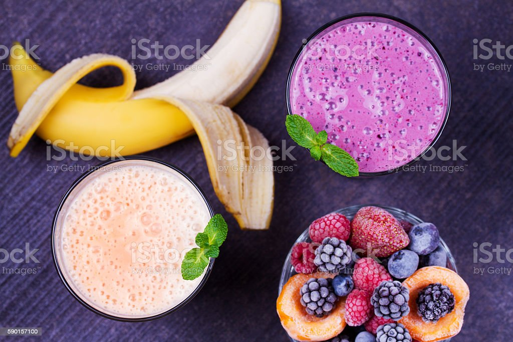 Frozen summer berries smoothie with mint stock photo