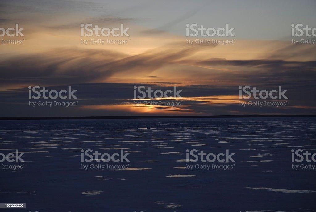 Frozen Sunrise over Lake Huron stock photo