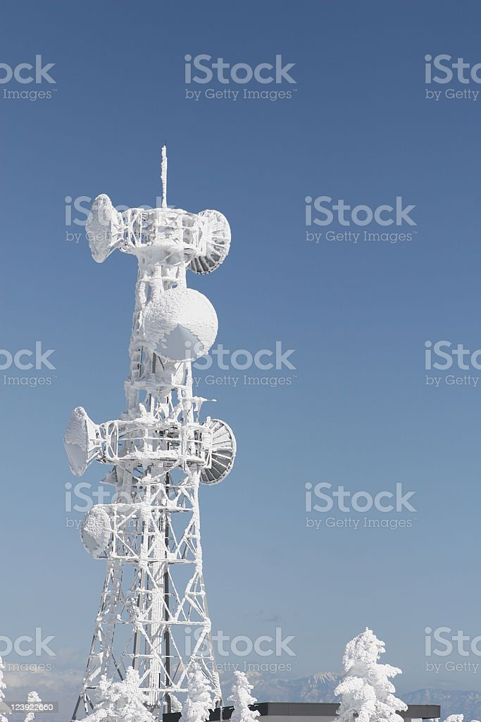 frozen television tower royalty-free stock photo