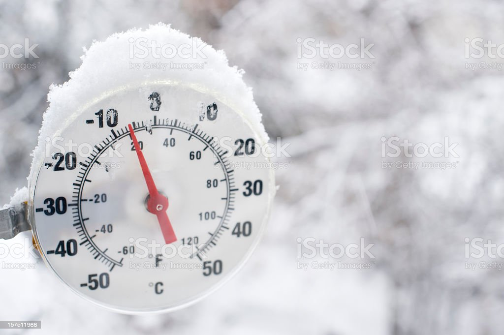 Frozen Thermometer near Yellowknife. stock photo