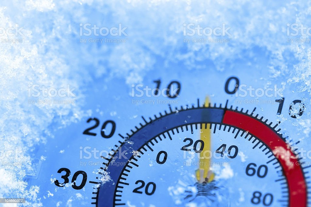 Frozen thermometer royalty-free stock photo