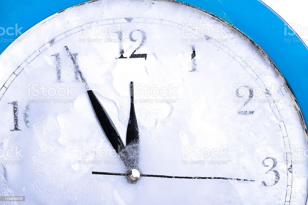 frozen time blue clock stock photo