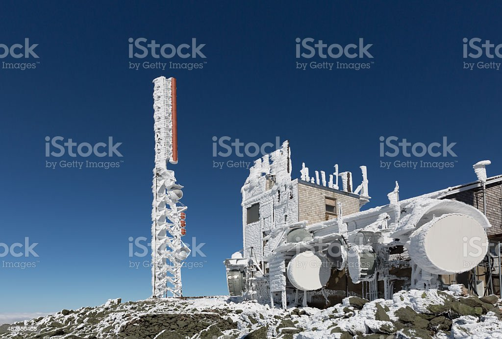 Frozen Tower and Communication Equipment at Summit of Mount Washington stock photo
