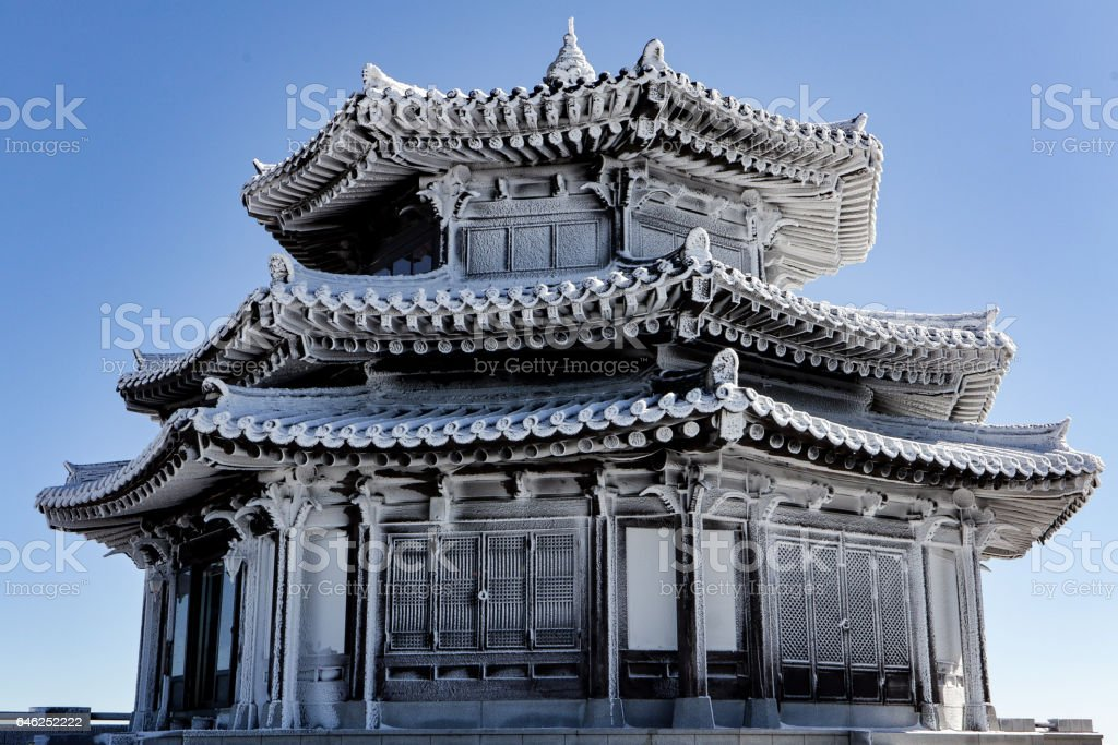 frozen traditional architecture which is korea cultural and traditional style. stock photo