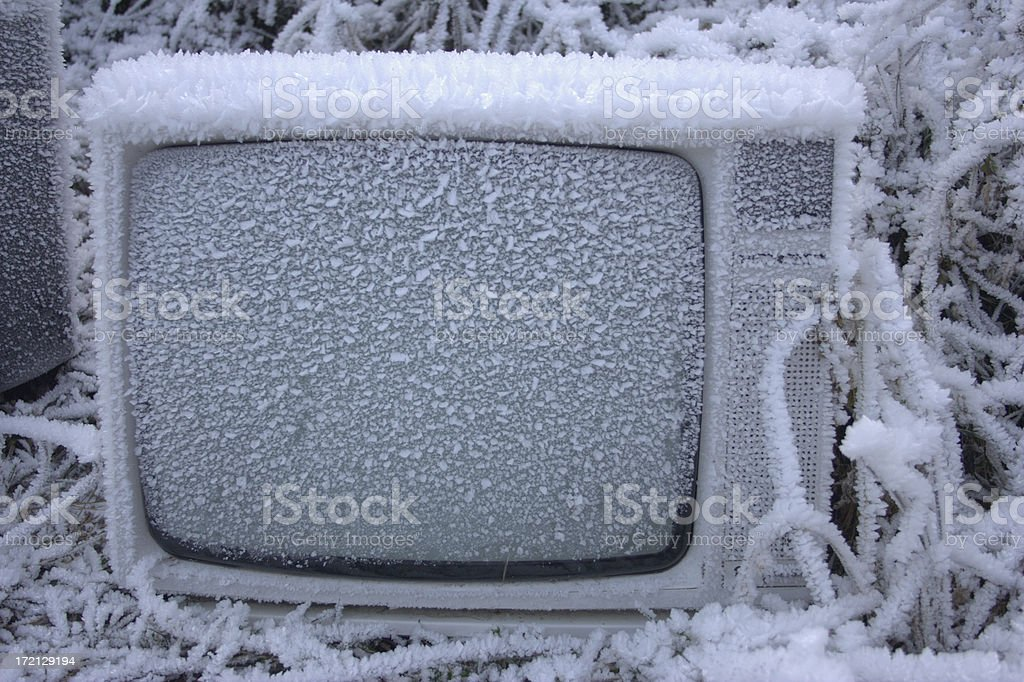 Frozen TV set stock photo
