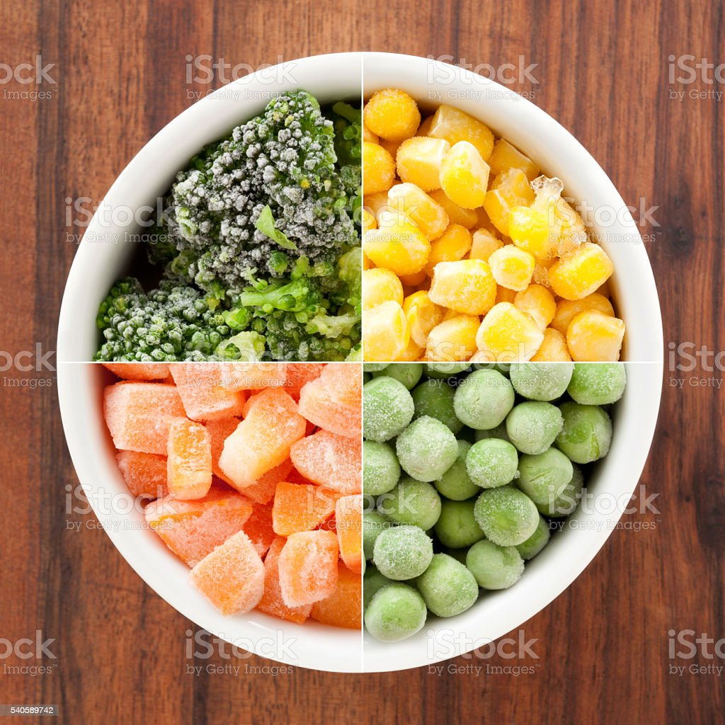 Frozen veggies composition stock photo