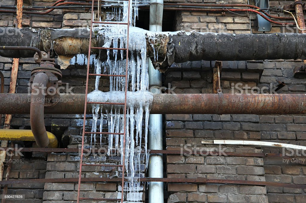 Frozen Water Pipe stock photo