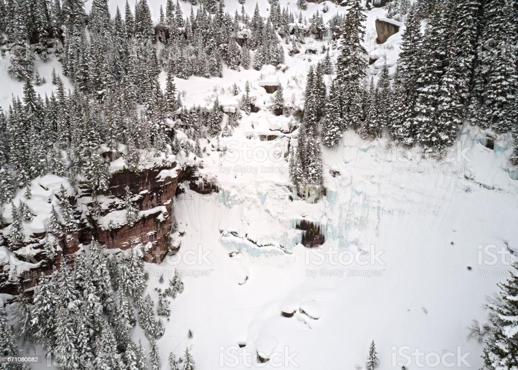 Frozen Waterfall Aerial Colorado Rocky Mountains stock photo