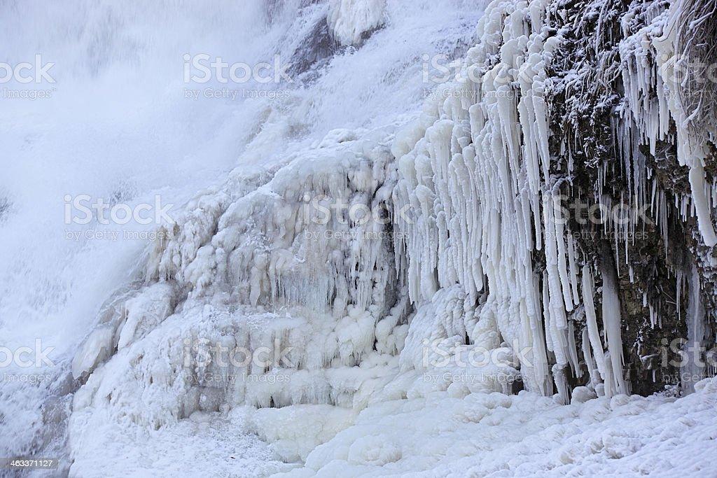 Frozen waterfall cascade stock photo