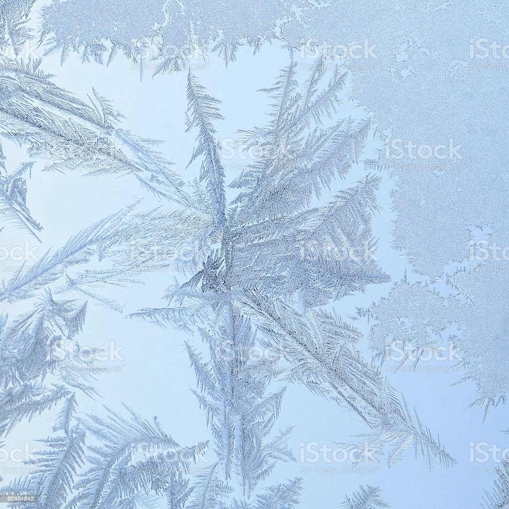Frozen window with glass pattern royalty-free stock photo