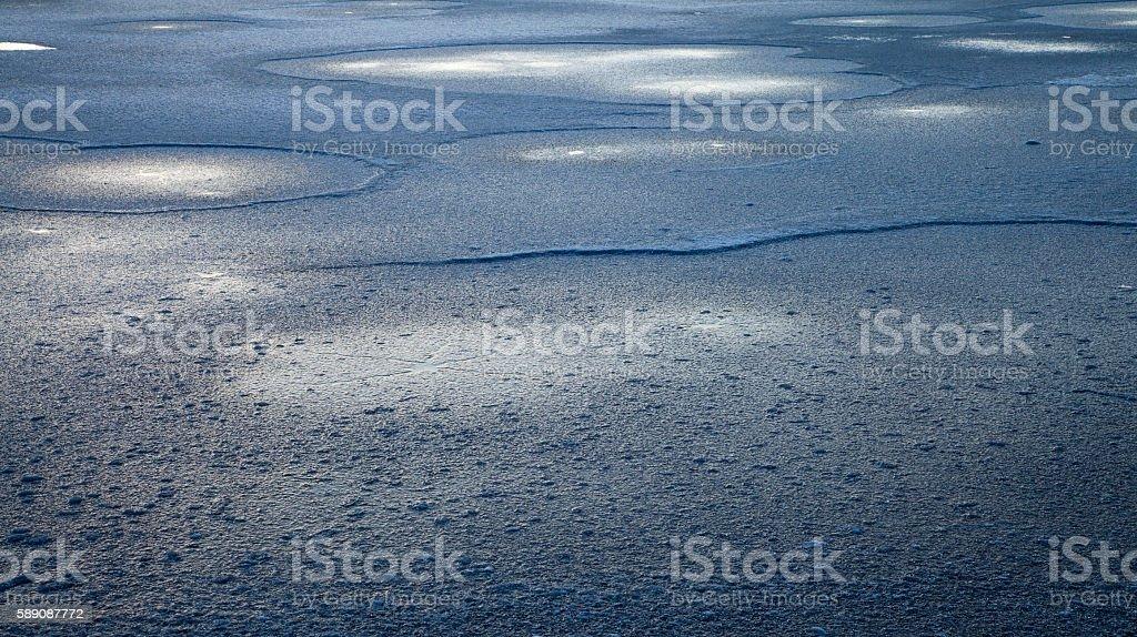 Frozen winter lake (blue ice) royalty-free stock photo