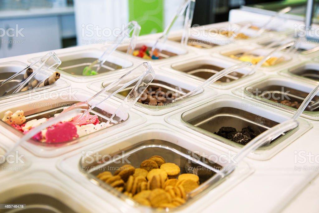 Frozen Yogurt Topping Selection stock photo