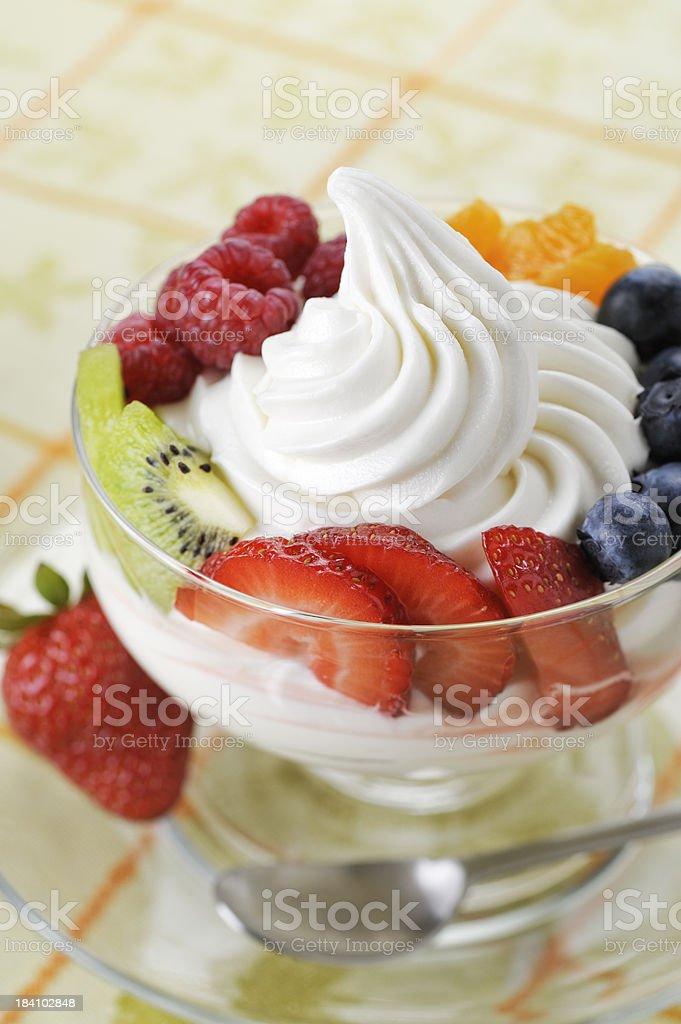 Frozen Yogurt with Fresh Fruit royalty-free stock photo
