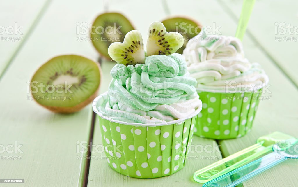 Frozen yogurt with fresh kiwi stock photo