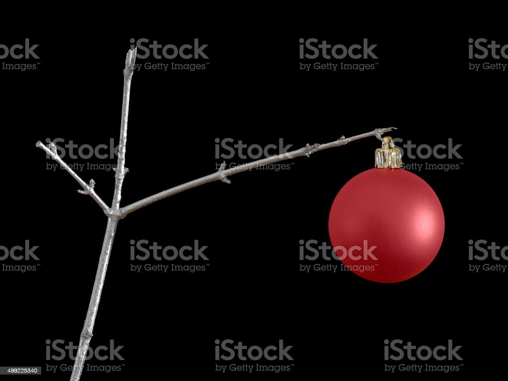 Frugal Christmas background. One red bauble on spray painted twig. stock photo